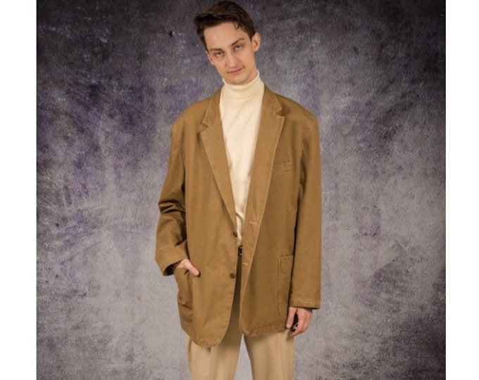 Vintage 90s beige classic, casual  men's jacket or blazer / Old School Clothing by Mooha