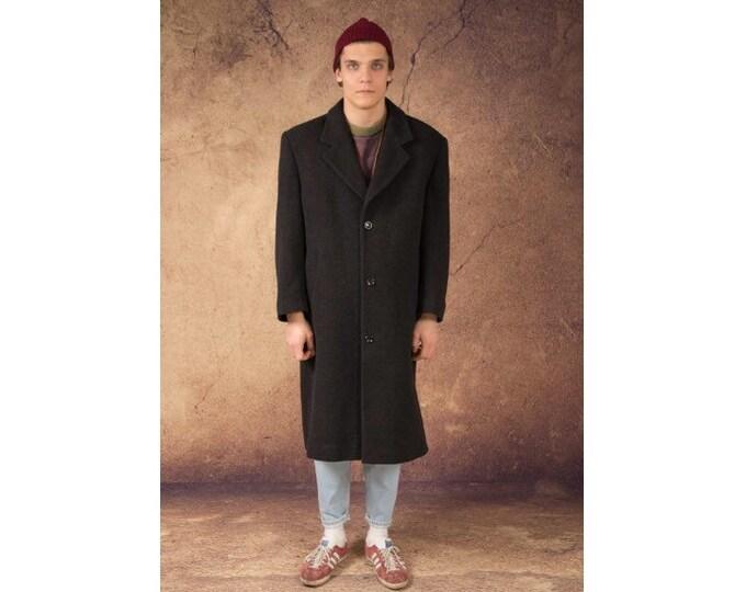 Vintage 90s men's dark gray very long single breasted wool blend coat / menswear vintage clothing