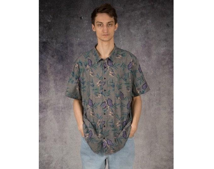 Mens vintage 90s short  sleeve flowery graphic gray mens summer collar shirt / Mooha Menswear