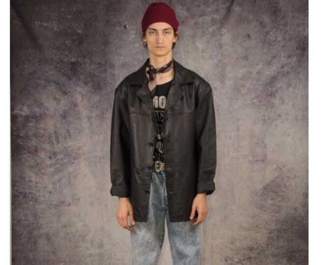 90s car jacket in grunge style, made of real leather in black color / Vintage Clothing by Mooha