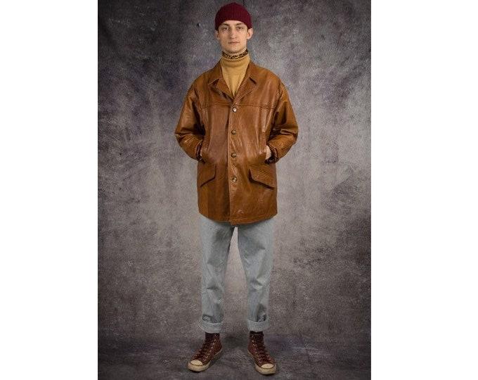 Old school 90s camel brown, heavy real leather men's car jacket / vintage menswear by MOOHA