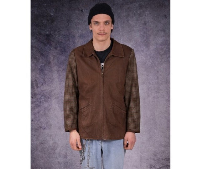 Vintage 70s brown, real leather and wool, classic,  casual men's leather jacket with checkered pattern on the sleeves