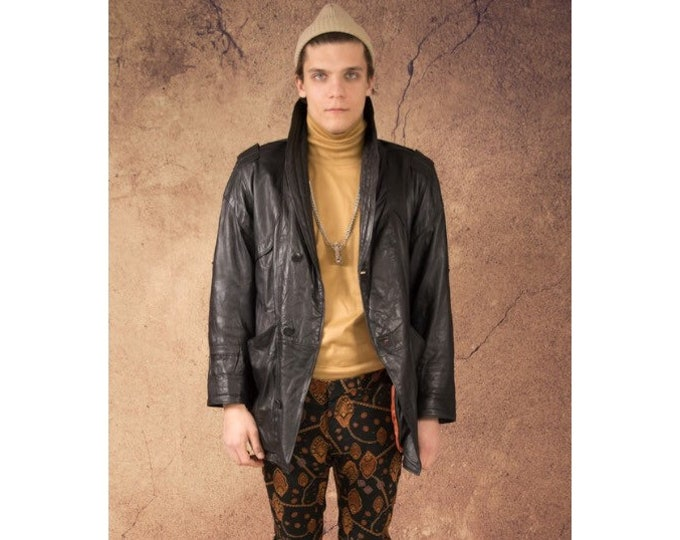 Black real leather grunge, quilted men's jacket / blazer from the 80s