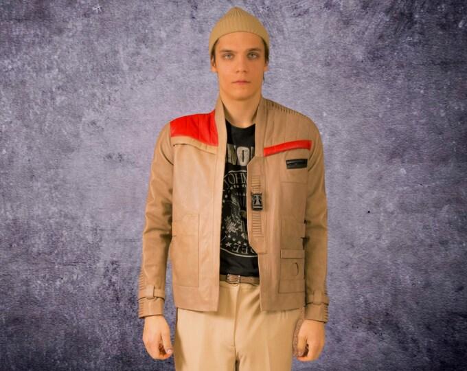 Vintage 90s beige, futuristic men's real leather biker jacket