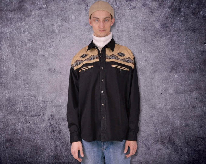 Men's long sleeve, black and beige, graphic South Western print collar shirt from the 90s / vintage menswear size L