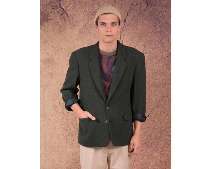 Amazing dark green colour, wool 2 buttons blazer, vintage 80s minimalist men's casual jacket