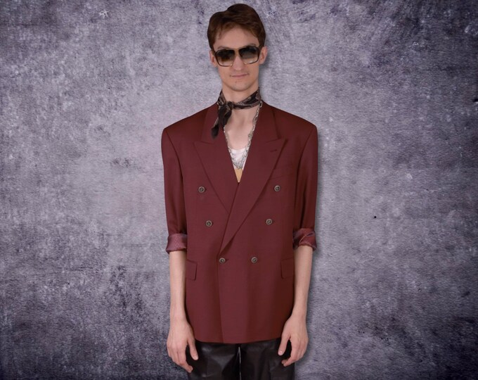 Amazing, dark red, pure wool, double breasted blazer, vintage 90s both glam and minimalist men's casual jacket