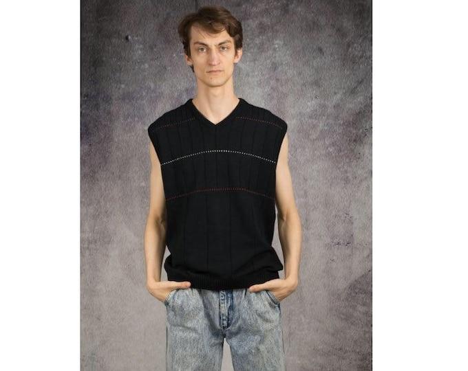 Men's retro 90s black vest, gilet, sleeveless jacket, jumper, sweater for Old School Clothing Connoisseurs