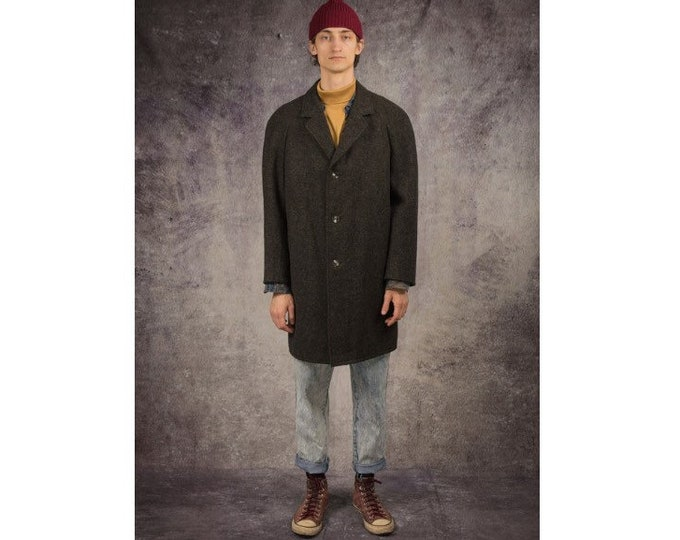 90s knee length coat in classic style, with notch collar, in dark grey color / Menswear Vintage Clothing by Mooha