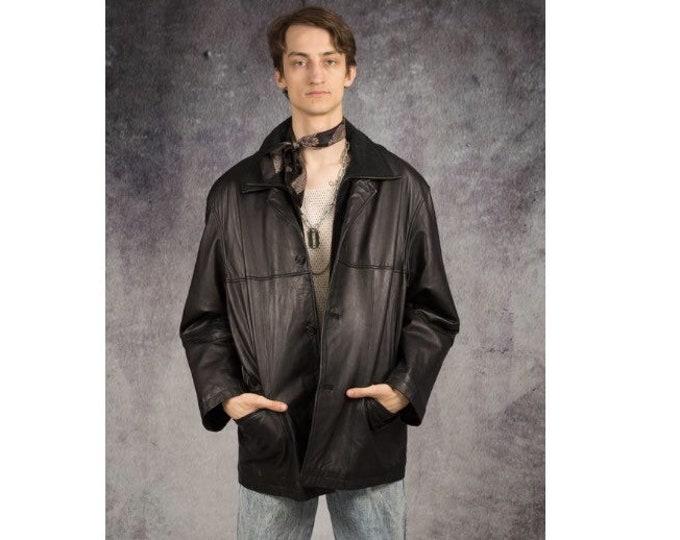 Old school 90s black leather mens jacket or blazer for vintage clothing connoisseurs