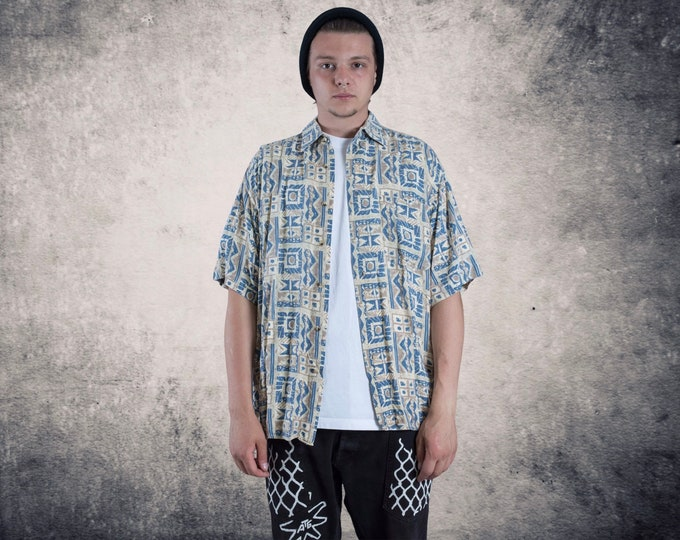 Men's summer shirt with short sleeve abstract boho print • Vintage clothing size L