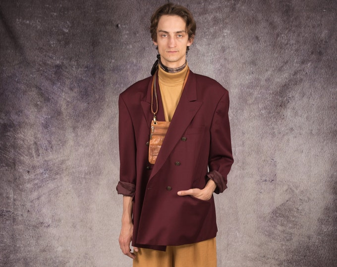 90s double breasted blazer, made of wool, in minimalistic style and dark wine color / Mooha Menswear