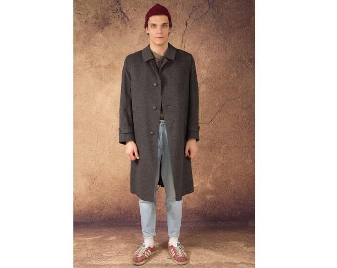 Vintage 90s men's dark gray long single breasted balmacaan pure virgin wool coat / menswear vintage clothing