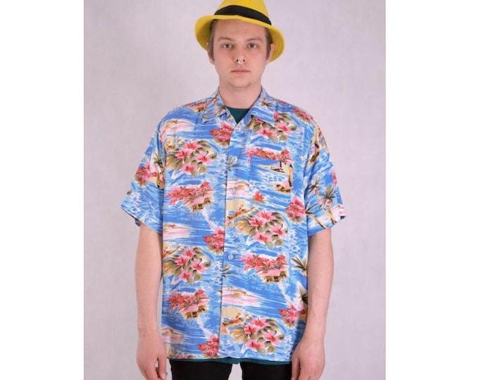 Vintage Hawaiian 90s short sleeve colorful print mens collar shirt