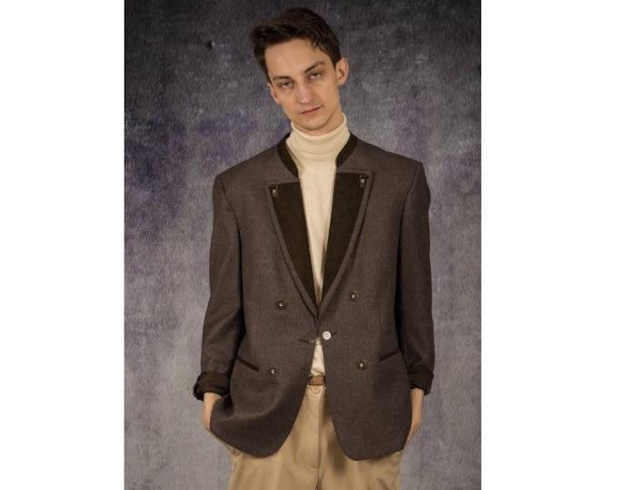 90s vintage amazing grey and brown wool tyrol style blazer, both glam and minimalist men's casual jacket / Mooha Menswear