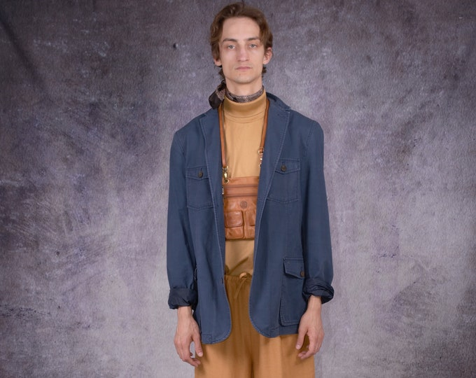 90s mens blazer in casual style and blue color, with chest pockets / Vintage clothing by MOOHA
