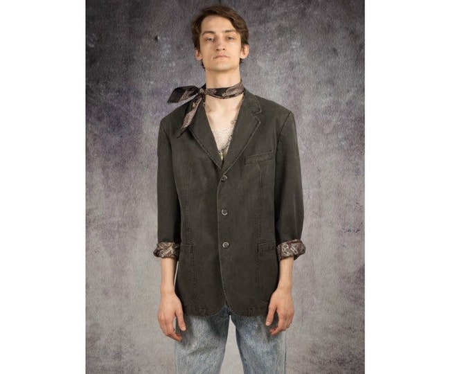 Old school 90s gray suede, light, classic, casual men's jacket or blazer / MoohaMenswear