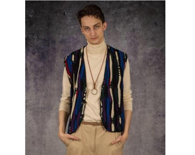 Men's vintage 90s coogy style colourfull knit Vest / sleeveless knit jacket / vintage clothing by Mooha