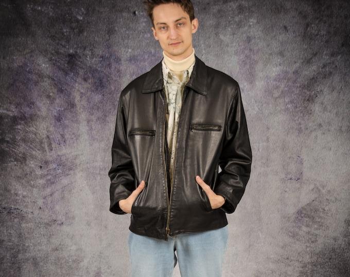 90s vintage black real leather grunge men's biker jacket for old school look lovers