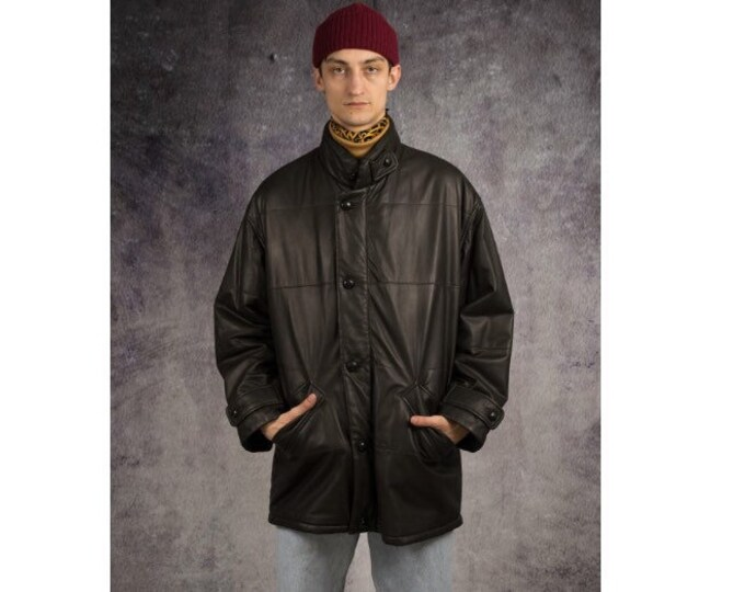 Vintage 90s nappa leather, classic black minimalistic casual men's jacket / MoohaMenswear