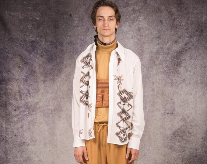 90s long sleeve shirt in white color, with abstract pattern / Mooha Menswear