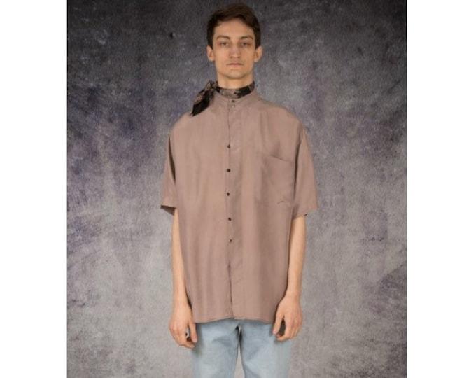 Old school 90s minimalist beige mens pure silk short sleeve silk collar button up shirt / vintage 90s MOOHA menswear