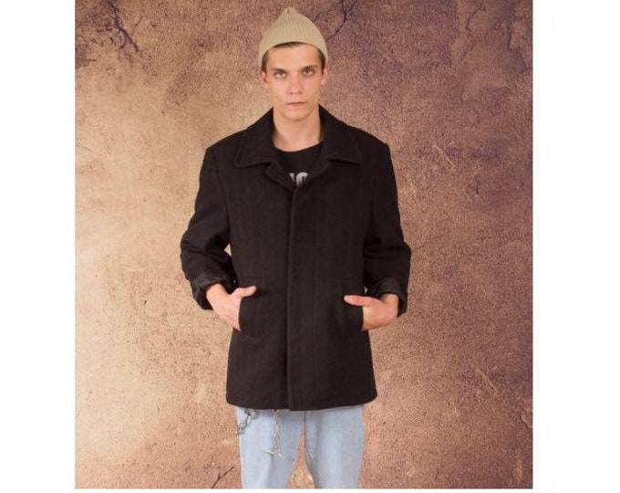 Vintage 90s men's dark gray, stripy short car coat / menswear vintage clothing