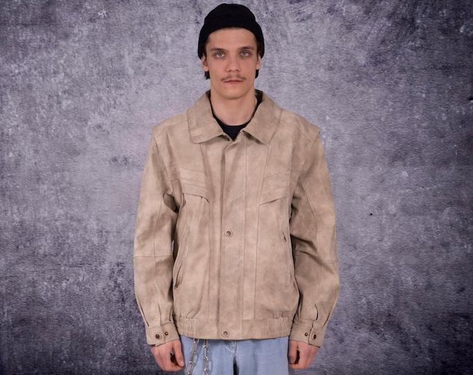 Men's Vintage 90s real leather, classic beige color minimalistic casual  bomber jacket / vest size L  MoohaMenswear