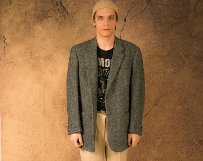 Amazing gray chevron original Harris Tweed pure wool 6 buttons blazer, vintage 90s minimalist men's casual jacket