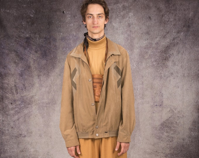 90s bomber jacket in grunge style, made of genuine suede in beige color /  MoohaMenswear