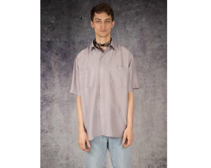 Cream beige color vintage 90s mens pure silk short sleeve silk collar button up shirt / vintage 90s MOOHA menswear