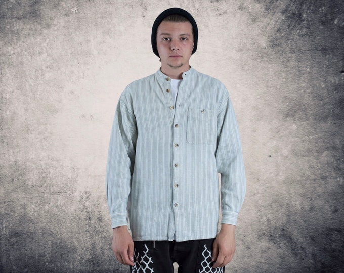 Men's Vintage 90s stripy cotton hippie shirt with long sleeve and stand up collar