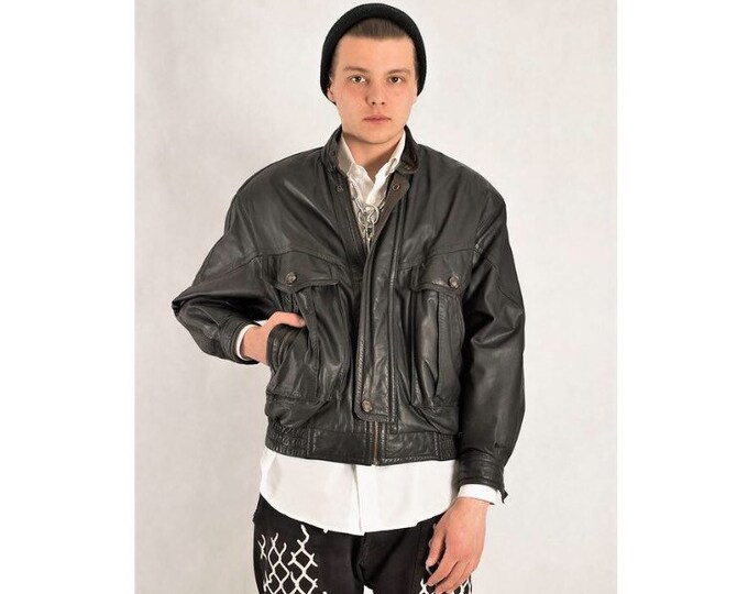 Vintage 90s real leather, classic black  minimalistic casual  men's biker jacket / vest size S MoohaMenswear