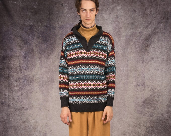 90s knit sweater, jumper in highlander, chunky style with beautiful colorful pattern / Mooha Menswear