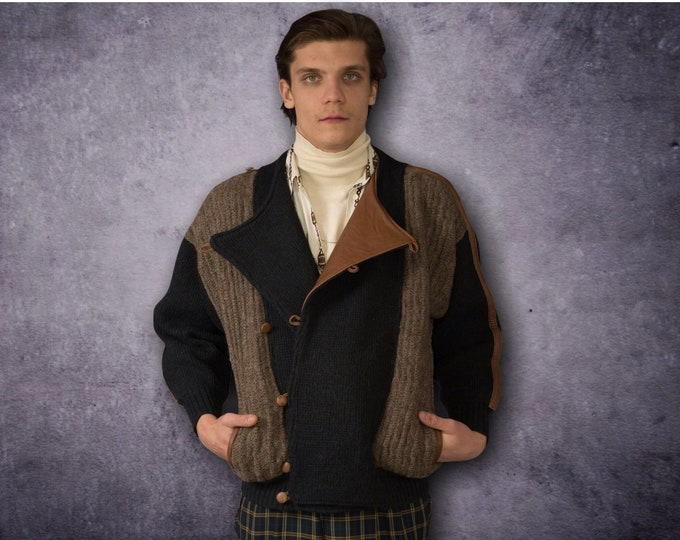 Ruby Italy - designers Vintage Men's Grunge, Slouchy, Buckled, Alpaca and wool Knit Jacket / Cardigan / Sweater with Fancy Leather Details