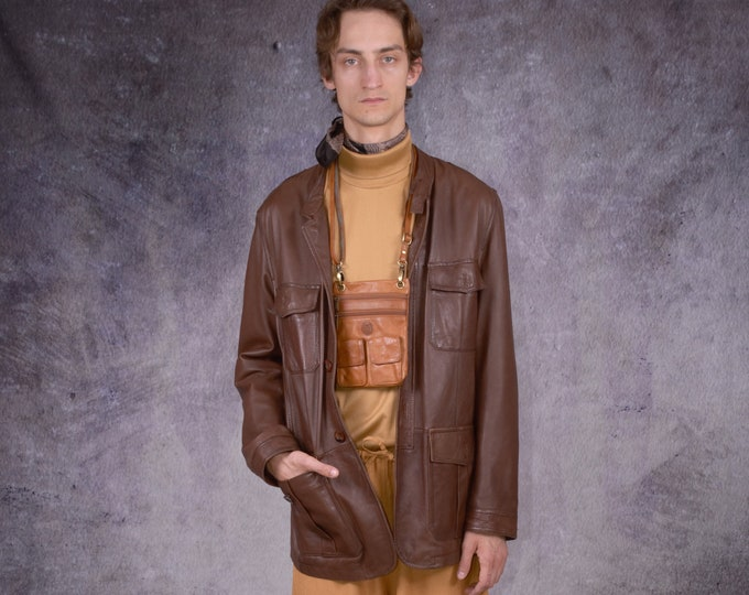 90s car coat in grunge style, made of genuine leather in brown color/ vintage menswear by MOOHA