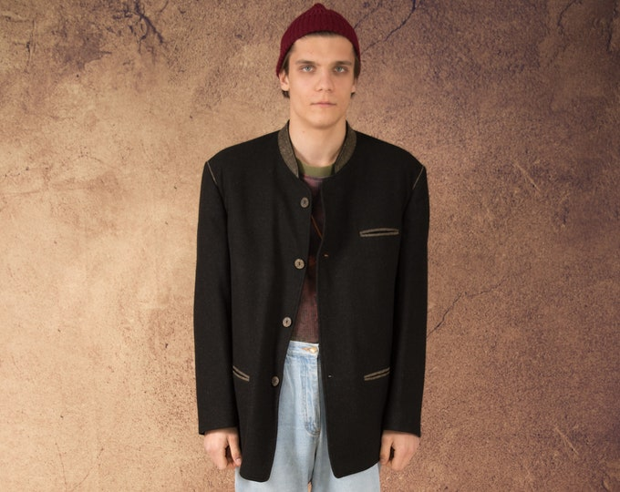 Vintage 90s dark grey wool Tyrol style mens Janker Jacket / blazer / Trachtenjanker • menswear vintage clothing size L