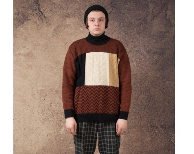 Men's vintage 90s  knit sweater with  color block pattern from the 90s in rusty orange, size M for vintage clothing lovers