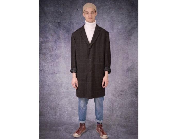 Vintage 90s men's wool blend, dark gray and brown classic tweed checkered coat / menswear vintage clothing