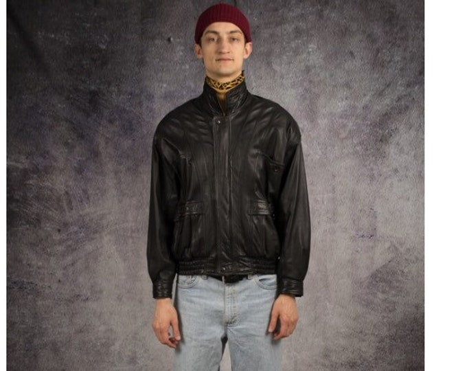 Retro 90s real leather, casual black, motorcycle, biker men's bomber jacket / old school clothing by Mooha