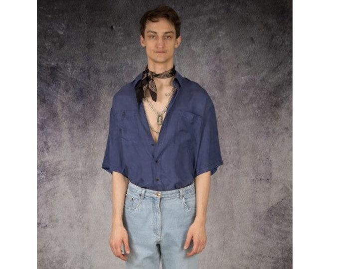 Vintage 90s blue pure silk short sleeve silk collar button up shirt / MOOHA menswear