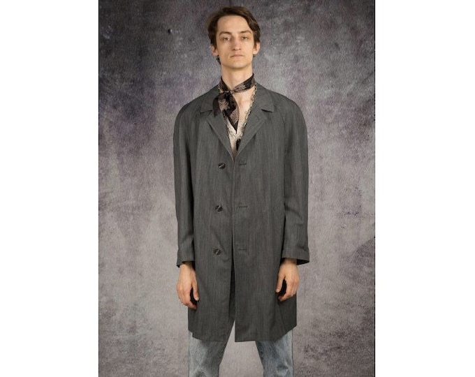 Vintage 90s men's simple, gray trench coat with notched collar/ menswear vintage clothing by MOOHA