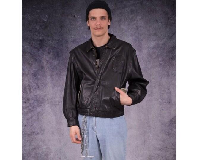Vintage 90s real leather, classic black, minimalistic, casual men's bomber jacket, biker jacket / Mooha Menswear