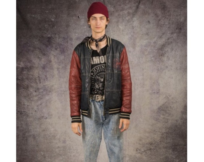 90s bomber or versity jacket in basketball style, made of real leather in navy blue and red / old school clothing by Mooha