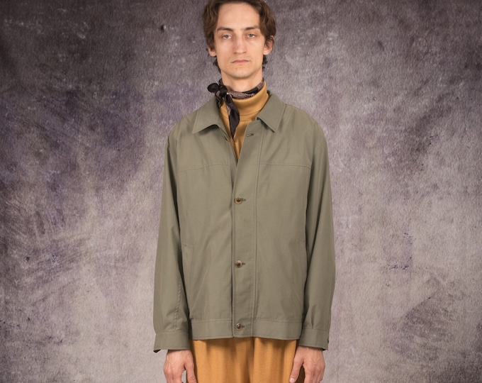 90 trucker or bomber jacket in minimalistic style  and olive color / Moohamenswear vintage clothing