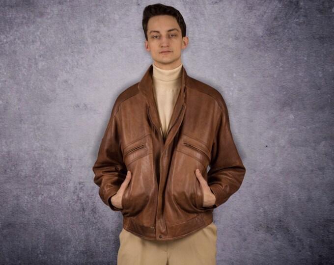 Vintage 90s nappa leather, classic dark brown minimalistic casual men's biker jacket MoohaMenswear
