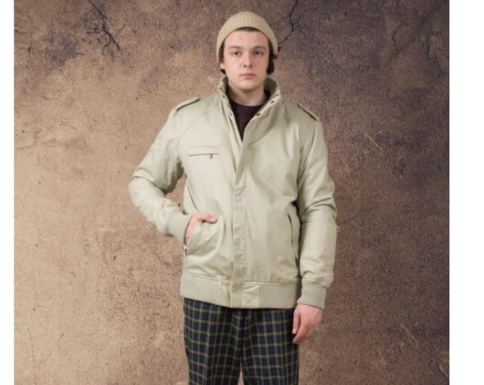 Men's Vintage 90s, classic beige minimalistic casual  bomber jacket size L  MoohaMenswear