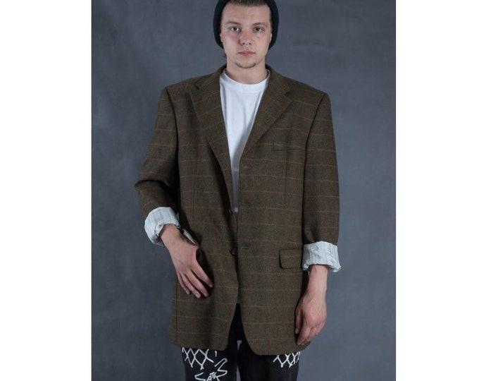 Brown wool and cashmere plaid blazer, vintage 90s minimalist men's checkered tweed jacket