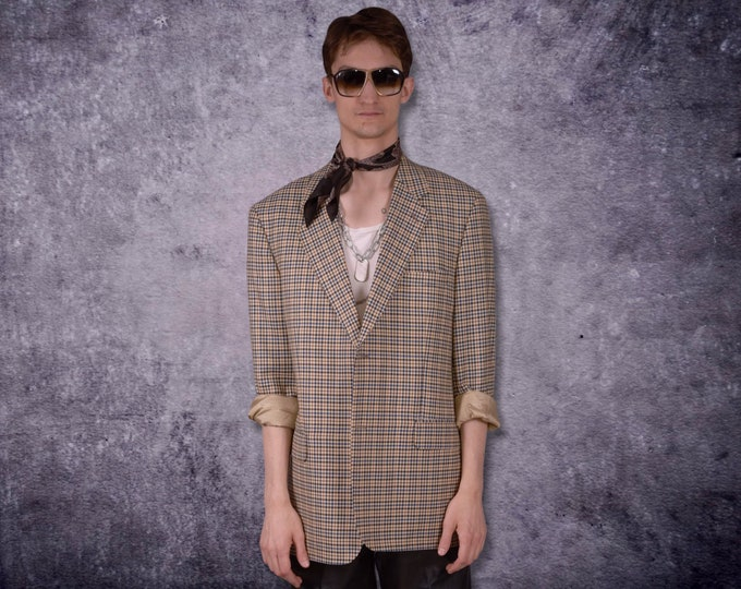 Vintage 90s beige and blue, checkered, single breasted blazer, men's casual jacket / vintage clothing by MOOHA