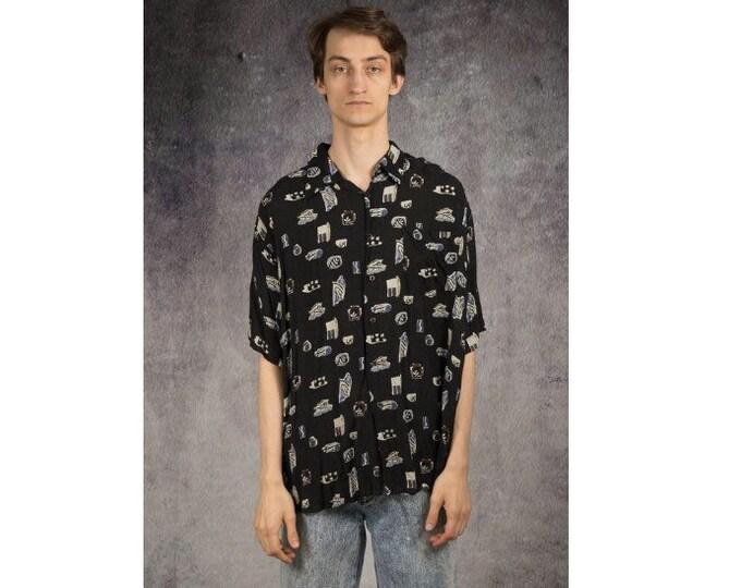 Black, Retro 90s collared mens shirt with abstract pattern  / MOOHA Menswear